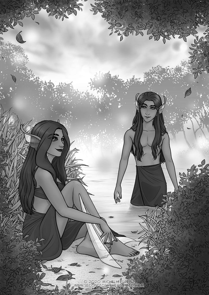 Cover art for Second Sight Chapter 3, without text. Through the foliage, we see the pond where the nymphs, Leila and Loni, dwell. Leila sits on the shore and Loni stands in the water, both watching the viewer with quiet, curious smiles. Leaves fall to scatter on the ground and water's surface around them as mist clings to the distant shore.